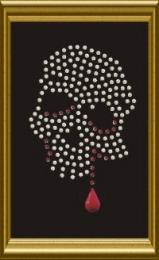 Kleiner Strass Totenkopf mit Blut Kristall   081080-01da