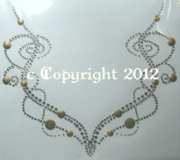 Hotfix Strass Bügelbild Kette Crystal-Gold 121104