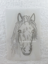 Bügelbild Strass Pferdekopf Reiten Black Diamond u.Crystal. 140322