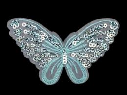 Applikation Hotfix Patch zarter Schmetterling Hellblau mit Pailetten