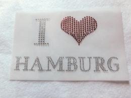 Bügelbild Strass I Love Hamburg  110912