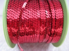 5 Meter   Paillettenband 4 mm Rot