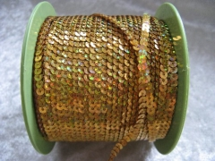 5 Meter   Holgram Paillettenband 4 mm Gold
