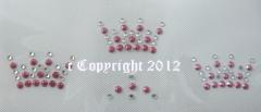 Bügelbild Strass Applikation 3 kleine Krönchen Pink süß  110713