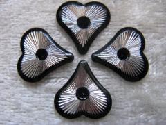 10   Sonderformen Formen Herzen 12x11 mm Schwarz/Silber