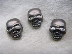 10   Bügelnieten Totenkopf Stahl / Grau