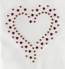Chatonerosen hübsches Herz Gold-Rot  090828-04dc