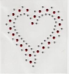 Chatonrosen hübsches Herz Silber Rot  090828-04dc
