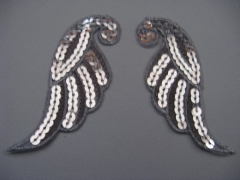 Applikation Flügel-Paar Silber m. Pailetten Nr. 25