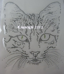Hotfix Bügelbild Toller Katzenkopf Katze Strass Crystal und Black Diamond 120921