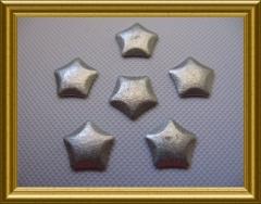 25   Metall Sonderformen Pentagon Glitter Silber 8mm