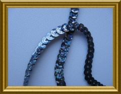 1 Meter Pailettenband Blaugrau Saphire 6mm