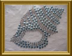 Strass Muschel Hellblau AB-Crystal 110615