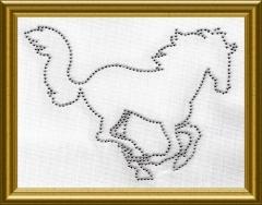 Strass Applikation edles Pferd 100911