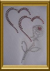 Strass 2 Herzen mit Rose 101030 Herzen Rot Bl. Crystal