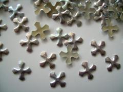 100   Metall Formen Kreuz Silber irisierend 10 mm