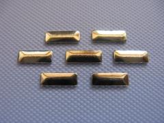 100   Metall Formen Rechteck 2,5x7 mm Gold