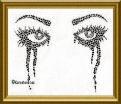 Hotfix Strass Bügelbild Augenpaar mit Tusche 110127