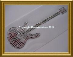 Hotfix Strass - Bügelbild traumhafte Gitarre rot 110214