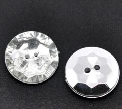 1 Schmuck Strass Knopf rund 13mm Crystal