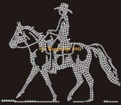 Hotfix Bügelbilder Strass Pferd Western Cowboy 110905