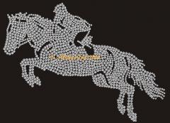 Hotfix Bügelbilder Strass Pferde Satteldecke Springreiter 110905
