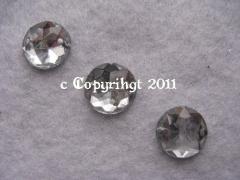 15 Strass Aufnähsteine Rund ca. 12mm Crystal