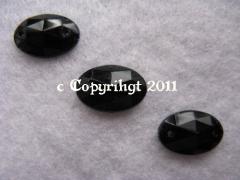 15 Aufnähsteine Aufnähstrass Oval ca. 12 x 8 mm Schwarz