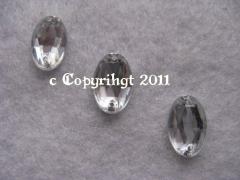 15 Aufnähsteine Aufnähstrass Oval ca. 12 x 8 mm  Crystal
