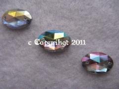 15 Aufnähsteine Aufnähstrass Oval ca. 12 x 8 mm AB Crystal