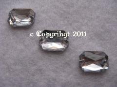 Schmucksteine 10 Aufnähsteine Achteck ca. 14 x 10 mm Crystal