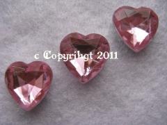 ABVERKAUF 25 große Schmucksteine Glitzerstein basteln Herz Rosa
