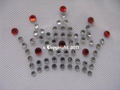 Strass Bügelbilder Krone Krönchen Crystal-Rot 111207