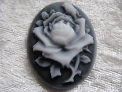 1 Gemme Cameo Kamee 26x18 mm Rose Schwarz Weiß