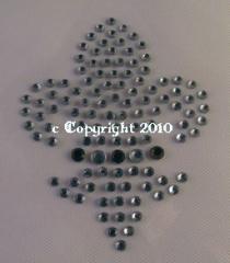 Hotfix Bügelbild Französische Lilie Strass Crystal/Schwarz 12012