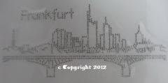 Strass Bügelbild Frankfurt am Main Kontur Skyline 120303-02