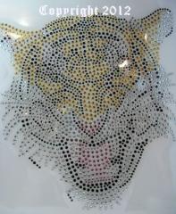 Strass Metallstuds Bügelbild Katze Tiger fauchend 2 120307