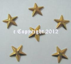 100 Hotfix Metall Formen Sterne 8mm Gold faccetiert