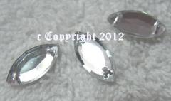 15 Strasssteine zum aufnähen Spitz Auge ca. 7 x 15 mm