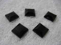 10 Aufnähsteine Quadrat Nr. 2 ca. 12mm Schwarz AAA Qualität