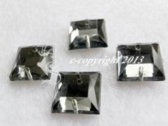 10  Aufnähsteine Quadrat Nr 2ca. 12mm Black Diamond AAA Qualität