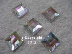 10 Aufnähsteine Quadrat Nr.2 ca. 12mm AB irisierend AAA Qualität