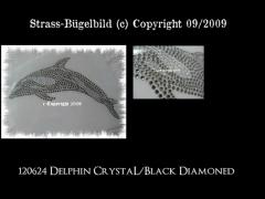 Hotfix Strass Bügelbild toller Delfin Delphin  Black Diamond 120