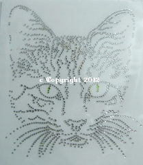 Hotfix Strass Bügelbild Katze Cat Katzenkopf 120921