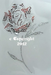Hotfix Strass Bügelbild tolle Rose Rot/Crystal 120811