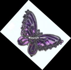 Applikation Hotfix Patch Schmetterling in Lila mit Pailetten Nr.