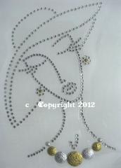 Bügelbild Dame Haute Couture Silber-Gold- Crystal 121101