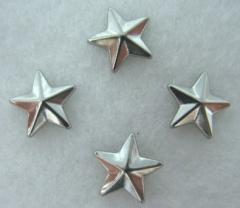 50 Hotfix Bügelnieten Stern Silber 8 mm