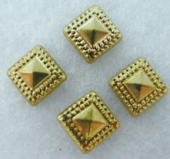 50 Hotfix Bügelnieten Nieten Quadrat Pyramide gold 8 mm