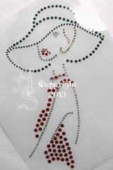 Strass Bügelbilder Lady elegante Dame Kleid rot 130406